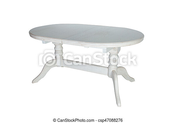 Round white wooden table isolated on white background - csp47088276