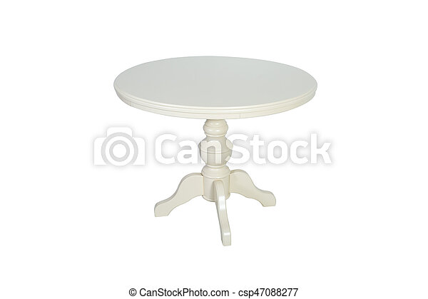 Round white wooden table isolated on white background - csp47088277
