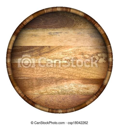 Round wooden barrel.  - csp18042262