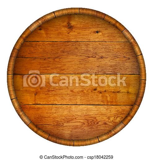 Round wooden barrel.  - csp18042259