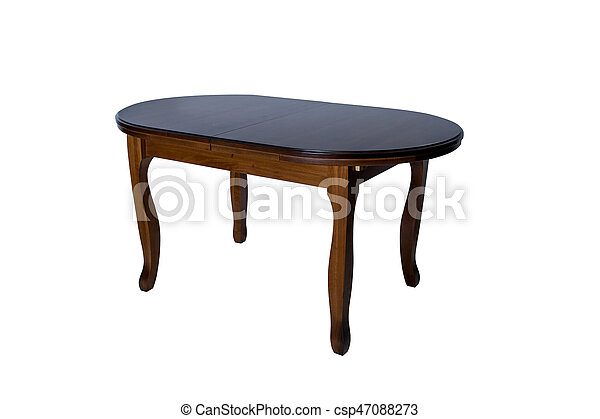 Round wooden table isolated on white background - csp47088273