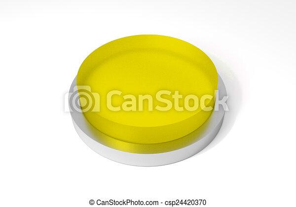 round yellow button on white surface - csp24420370