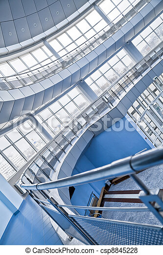 rounded balconies in an interior of modern office building - csp8845228
