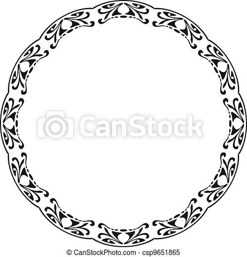 Rounded frame in the style of Art Nouveau - csp9651865