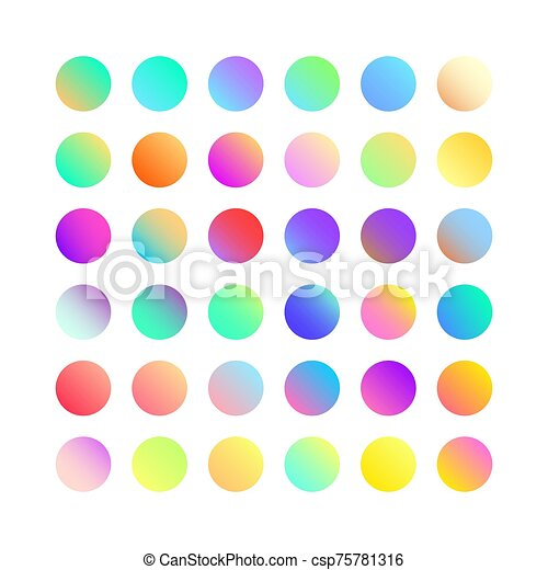 Rounded holographic gradient sphere button. Multicolor green purple yellow orange pink cyan fluid circle gradients, colorful soft round buttons or vivid color spheres flat vector set - csp75781316