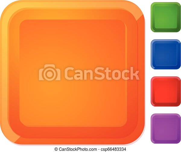 Rounded square button, banner in 5 color with highlight effect - csp66483334