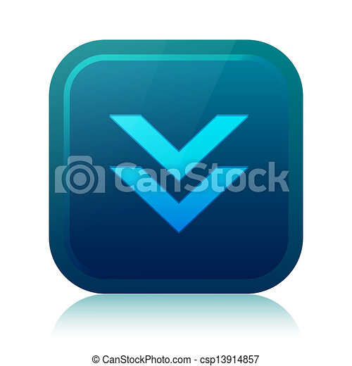 Rounded square download icon with reflection - csp13914857