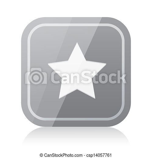 Rounded square star icon with reflection - csp14057761