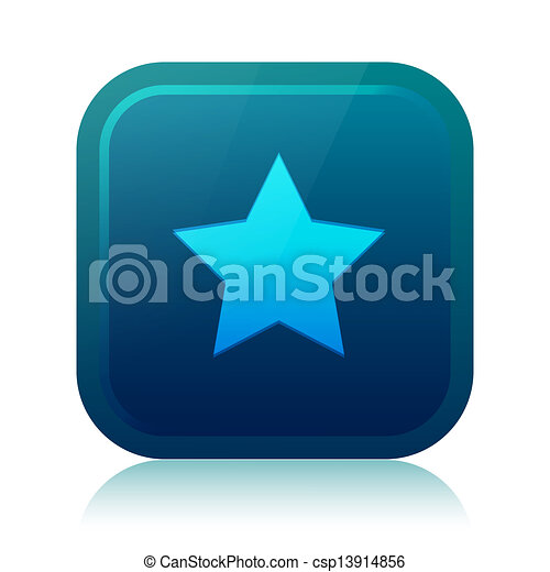 Rounded square star icon with reflection - csp13914856