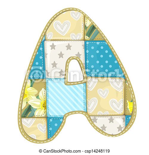 Roundish Font from quilted from multi-colored a blanket rag - letter A - csp14248119