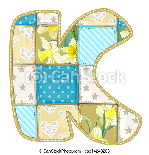 Roundish Font from quilted from multi-colored a blanket rag - letter K - csp14248205
