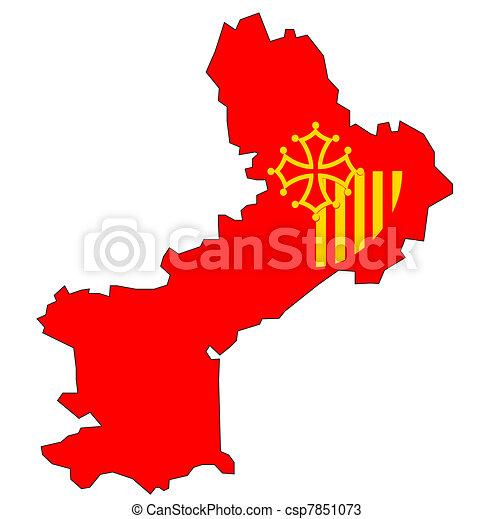 Roussillon Carte Drapeau Languedoc Carte Vieux Languedoc Region France Roussillon Departement Drapeau Canstock