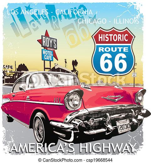 Route 66 Classic Car Vintage Car Vector For T Shirt