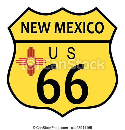 Route 66 New Mexico Flag Route 66 Traffic Sign Over A White