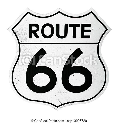 Vintage Route 66 Sign Isolated On White Background Stock Photo