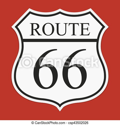 Route 66 Sign With Shadow On A Red Background Route 66 Sign
