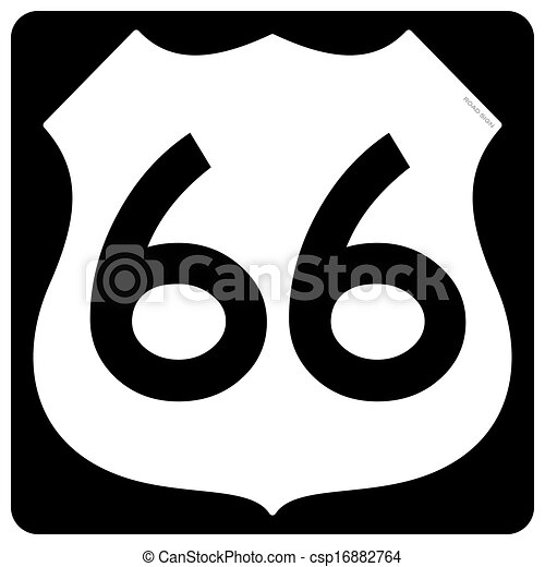 Route 66 Symbol Traditional Roadsign Shape In Black And White Colors