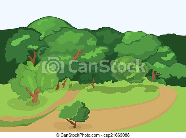 route, arbres, vert, dessin animé, village - csp21663088