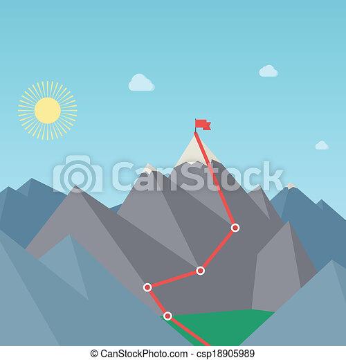 route., concept., 登山, 矢量, 成就, 目標 - csp18905989