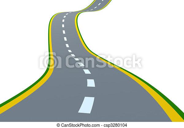 Dessin De Route route. road., render, résumé, isolé, white., 3d.