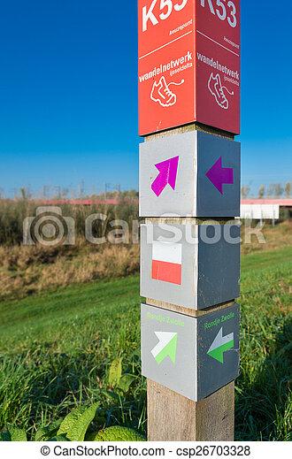route, fiets, post, meldingsbord - csp26703328