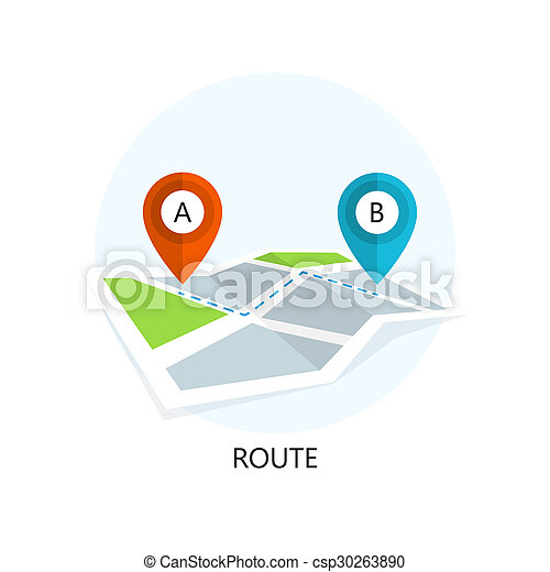 Route Icon. Flat Design. - csp30263890