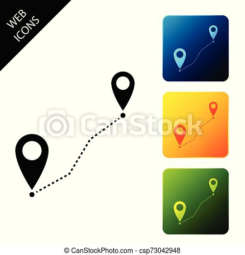 Route location icon isolated. Map pointer sign. Concept of path or road. GPS navigator. Set icons colorful square buttons. Vector Illustration - csp73042948