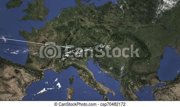 Route of a commercial plane flying to Graz, Austria on the map. 3D rendering - csp70482172