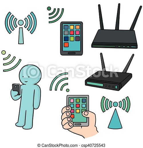 router, vektor, satz, wifi - csp40725543