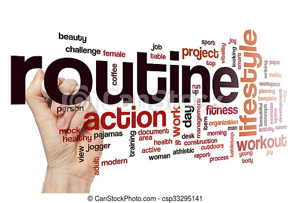 Routine word cloud concept - csp33295141