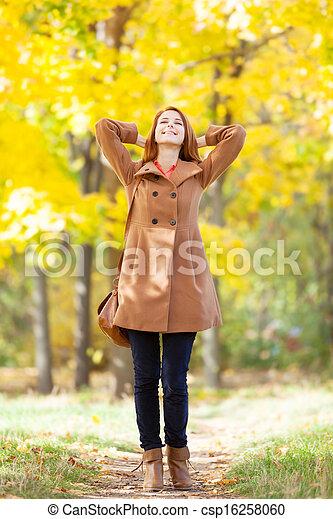 roux, automne, girl, parc - csp16258060