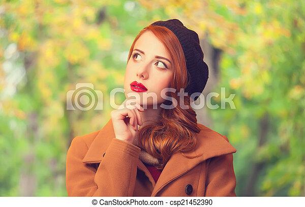 roux, automne, girl, parc - csp21452390