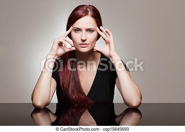 roux, fort, facial, beauté, expression. - csp15645693