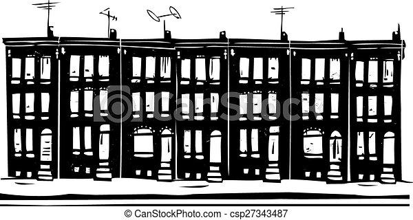 Woodcut style image of baltimore urban ghetto row homes vector row homes csp27343487 sciox Gallery