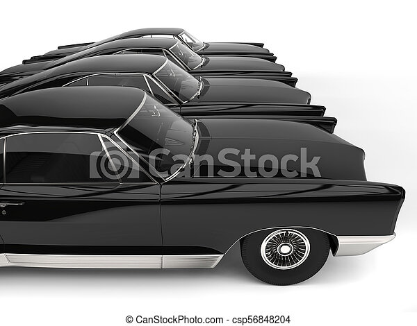 Row Of Awesome Black Vintage Car