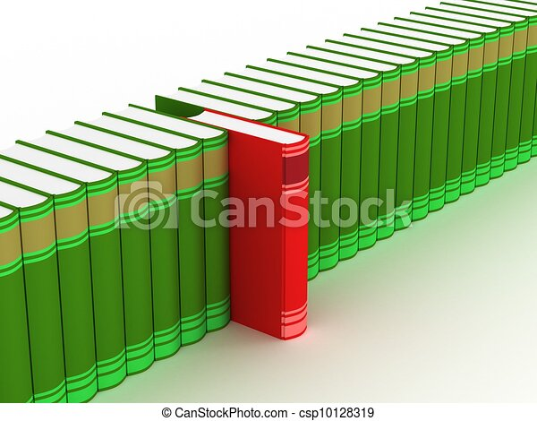 Row of books on a white background. 3D image. - csp10128319