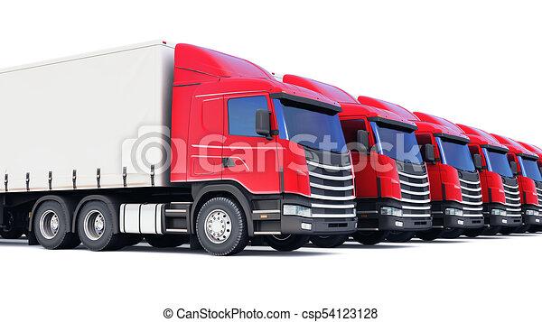 Row of cargo trucks isolated on white - csp54123128