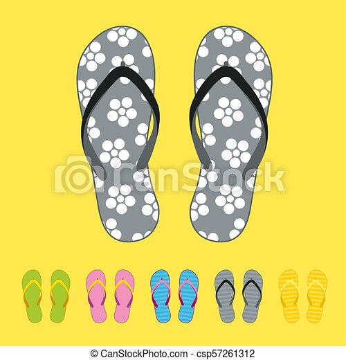 2489df334 Row of colorful beach flip flops over color background. beach sandals.