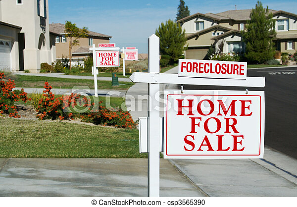 Row of Foreclosure Home For Sale Real Estate Signs - csp3565390