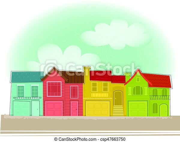 row of houses clip art of colorful row houses under blue clipart rh canstockphoto com Open House House Made From Cards