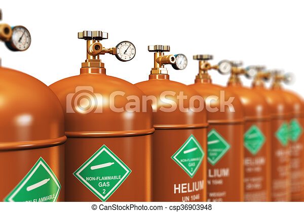 Row of liquefied helium industrial gas containers - csp36903948
