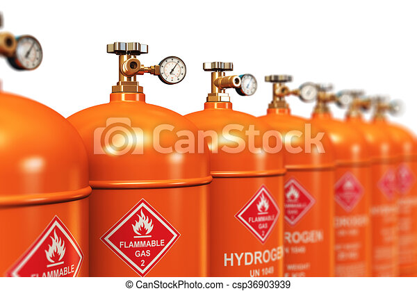 Row of liquefied hydrogen industrial gas containers - csp36903939