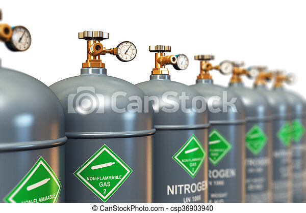 Row of liquefied nitrogen industrial gas containers - csp36903940