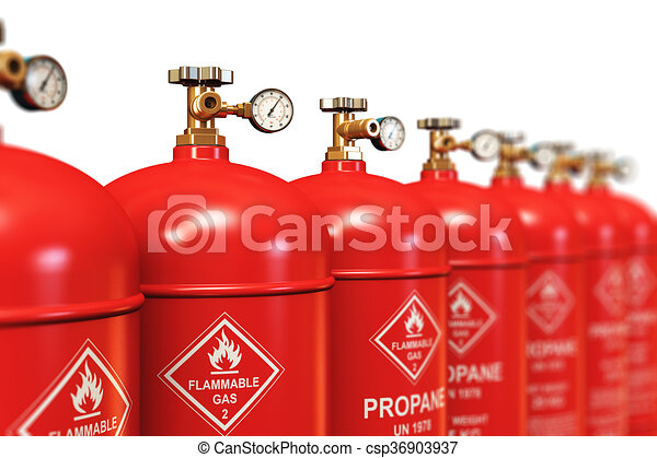 Row of liquefied propane industrial gas containers - csp36903937