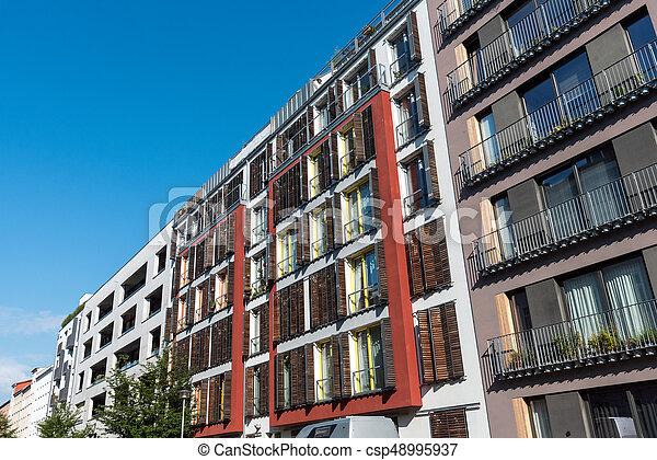 Row of modern apartment buildings in Berlin