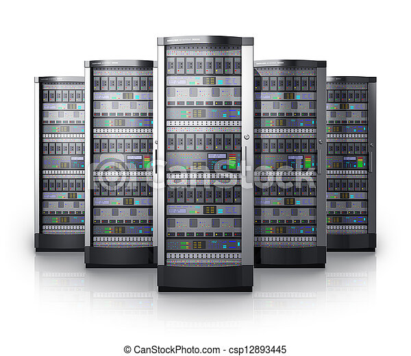 Row of network servers in data center - csp12893445
