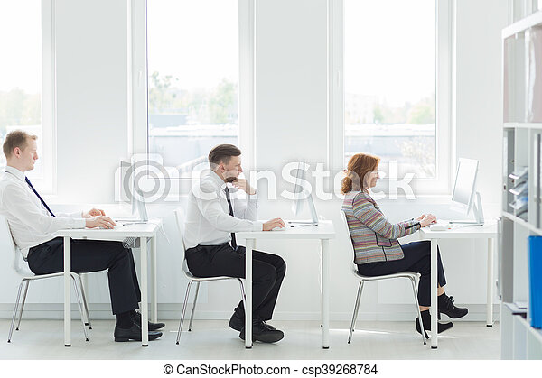 Row of telemarketers - csp39268784