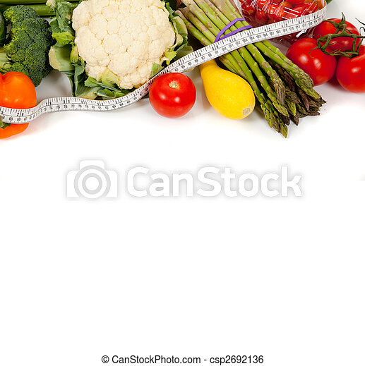 Row of vegetables with a tape on white - csp2692136