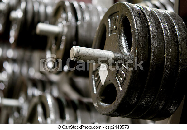 Row of weights in gym - csp2443573