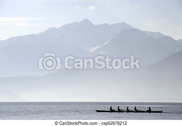 Rowers on row boat, Annecy lake, france - csp52676212